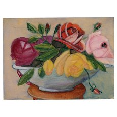 LAST CHANCE Retro French Military Issued Postcard Hand-Painted Gouache Floral Still Life