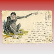 Original Pen and Ink Watercolor of Monkey French 1912-1913 Postcard