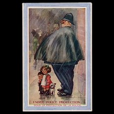 Fred Spurgin Under Police Protection Comic  French English Postcard 1919