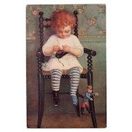 Girl with Shoe Salon de Paris Suzanne Daynes-Grassot-Solin Rare French Art Postcard