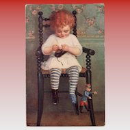 Girl with Shoe Salon de Paris Suzanne Daynes-Grassot-Solin Rare French Art Postcard