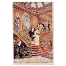 Grand Art Nouveau Staircase Postcard Illustration by French Artist Lessieux Dated 1916