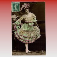 Belle Epoque Woman in Stunning Grape Motif Dress with Ruffles and Lace Hand-Painted