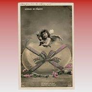 Easter Egg Angel French Postcard Franked 1906