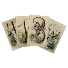 Four Antique Number Collage Postcards Hand-painted from 1904