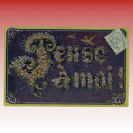 Petite Violets Spell Pensez à moi! French Embossed Postcard Gold Detailing 1907
