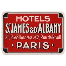 Bold Deep Red Paris Hotel Luggage Label Original Vintage St James Rue de Rivoli