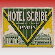 Hotel Scribe of Paris Luggage Label Original Vintage