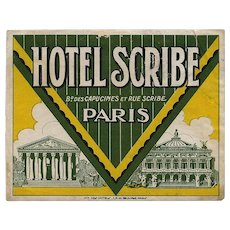 LAST CHANCE: Hotel Scribe of Paris Luggage Label Original Vintage