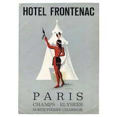 LAST CHANCE: Native American in Front of Tepee Paris Hotel Frontenac Luggage Label Original French Artist Jean Colin c 1940s
