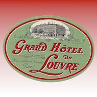 LAST CHANCE: Paris Grand Hotel du Louvre Large Oval Luggage Label Original Vintage