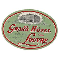 LAST CHANCE: Paris Grand Hotel du Louvre Large Oval Luggage Label Original Vintage