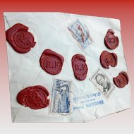 1958 Envelope from Revillon Frères of Paris with Seven Wax Seals