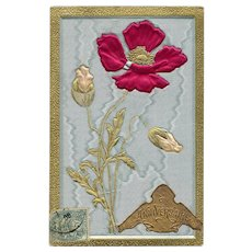 Antique Silk Embossed Flower with Anniversaire Sticker Franked 1907