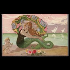 Art Deco Mermaid and Cupid Postcard Artist Signed Sofia Chiostri Unused Mint Condition - Red Tag Sale Item