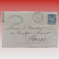 1893 Paris Philatelic Item Folded Envelope Business Letter