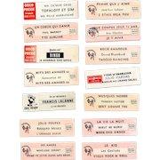 14 Original Retro French Jukebox Song Labels Circa 1970-1980s