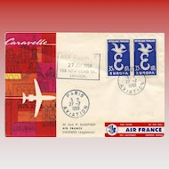First Flight Cover FFC Air France Pegasus Caravelle 1959 to London Franking Philatel Envelope