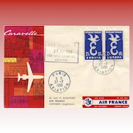 LAST CHANCE: First Flight Cover FFC Air France Pegasus Caravelle 1959 to London Franking Philatel Envelope