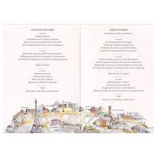 Seine River Cruise Menu from Bateux Parisiens Paris Souvenir Eiffel Tower Illustrated Tourist Icons 1989 Artist Signed