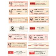 14 Original French Jukebox Song Labels c1980s Dance Themes