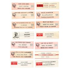 LAST CHANCE: 14 Original French Jukebox Song Labels c1980s Dance Themes