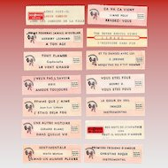 14 Original French Jukebox Song Labels c1980s Rendez-Vous and Romance