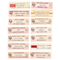 LAST CHANCE: 14 Original French Jukebox Song Labels c1980s Rendez-Vous and Romance