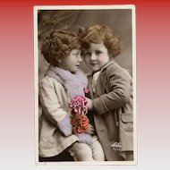 Sweet Siblings RPPC French Happy New Year Postcard 1934
