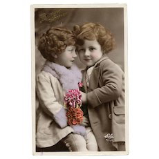 Sweet Siblings RPPC French Happy New Year Postcard 1934