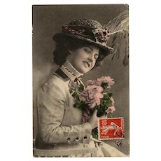 Edwardian Woman with Inset Jewel Accents on her Hat and Clothes Antique French Postcard 1909 - Red Tag Sale Item