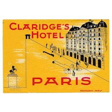 LAST CHANCE: Claridge's Hotel of Paris France French Luggage Label Original Vintage