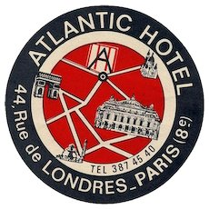 LAST CHANCE: Atlantic Hôtel Paris France French Luggage Label Original Vintage