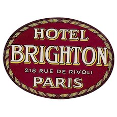 Hotel Brighton Rue de Rivoli  Original Vintage Huge Oval Luggage Label - Red Tag Sale Item