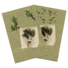 2 German French Embossed Christmas Postcards c1900
