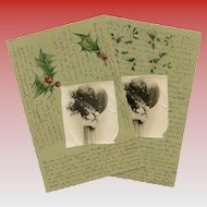LAST CHANCE: 2 German French Embossed Christmas Postcards c1900