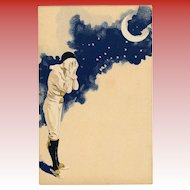 Pierrot Crying Under Crescent Moon Night Sky and Stars Antique French Carte Postale c1903