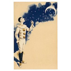 Pierrot Looking Up at Crescent Moon Night Sky and Stars Antique French Carte Postale c1903