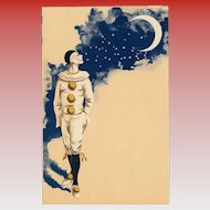 Pierrot Looking Back at Crescent Moon Antique French Carte Postale Unused Mint Condition