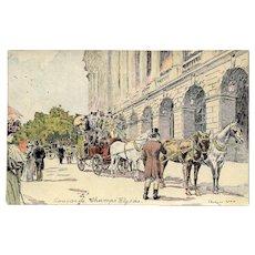 Rare Georges Stein Antique Postcard 1897 Paris Champs-Élysées Possibly Hand Made