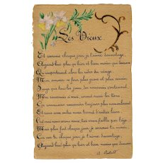 French Love Poem Sent During War Time 1918