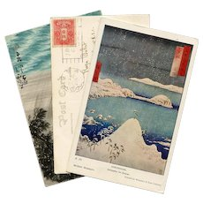 3 Japan Themed Postcards Japanese French Hand-Painted and Mount Fuji Real Photo and Hiroshige Painting