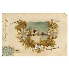 Antique French Postcard Collage with Village Scene, Dried Flowers and Moss