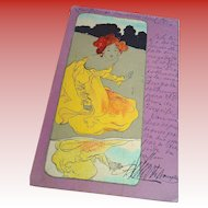 Raphael Kirchner Vienne Postcard Barcelona Spain 1902  Redheaded Lady in Yellow Lavender Background Series