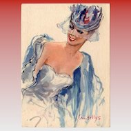"1950s French Fashion Beauty in Blue ""Parisienne"" Series Artist Signed by Vincente Cristellys"