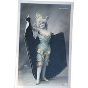 Folies Bergère Belle Epoque Actress in Caped Harlequin Costume Real Photo Gold Hand Detailing