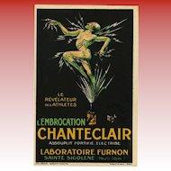 Lightning Man L'Embrocation Chanteclair French Art Deco Artist Signed Advertising Postcard