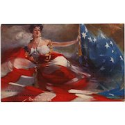 Patriotic Personification of USA as Woman Artist Signed Flags of the Nations' Series Artotype Postcard