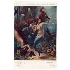 Mermaids Amid the Treasure Paris Salon 1913 Antique French Lithograph Postcard