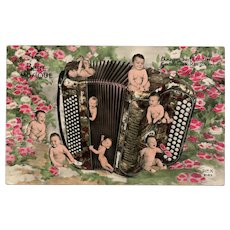 """""""Baby Music"""" Accordion Retro Multiple Babies French Photo Collage Postcard"""